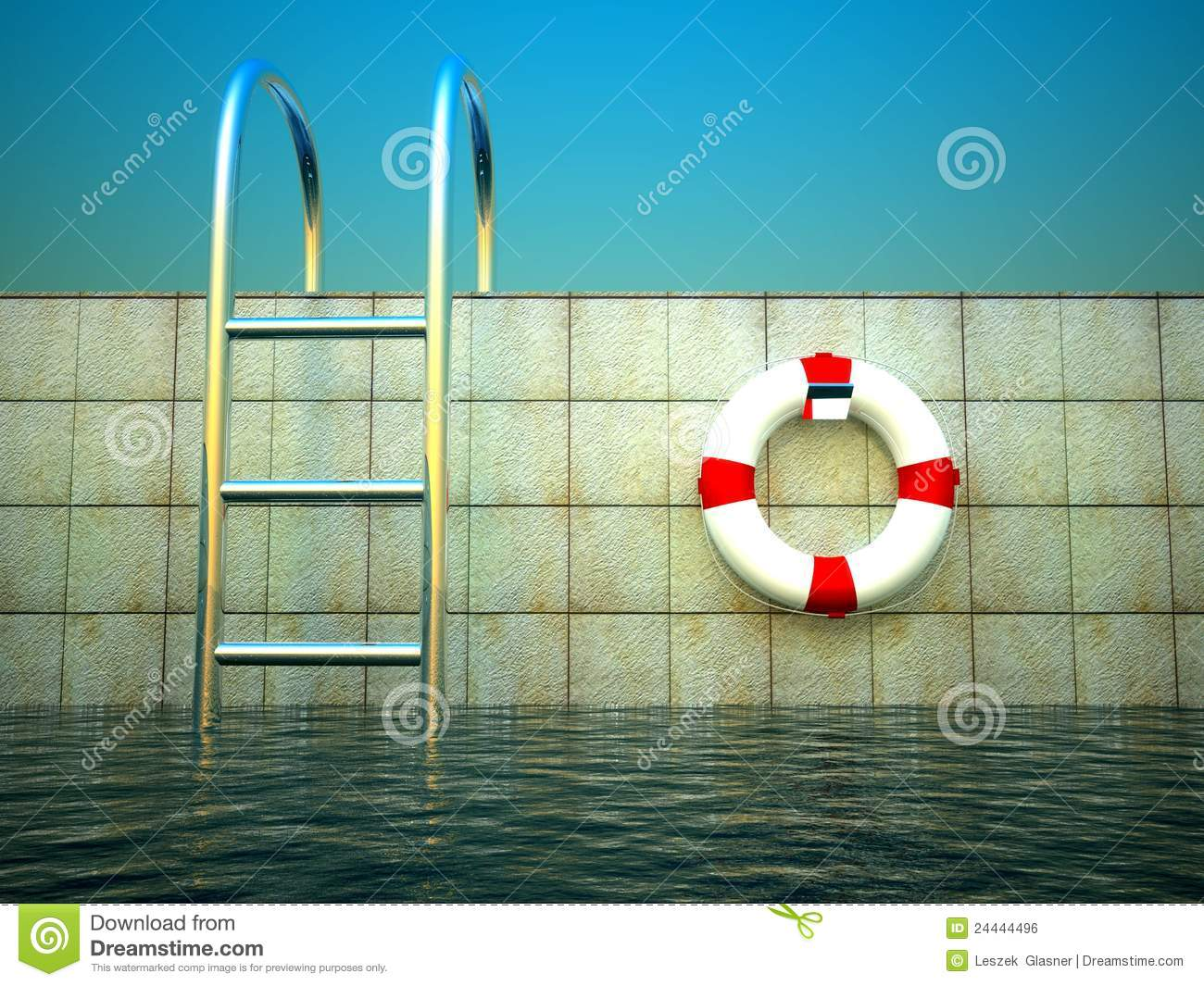 3d Swimming Pool And Life Ring Stock Illustration