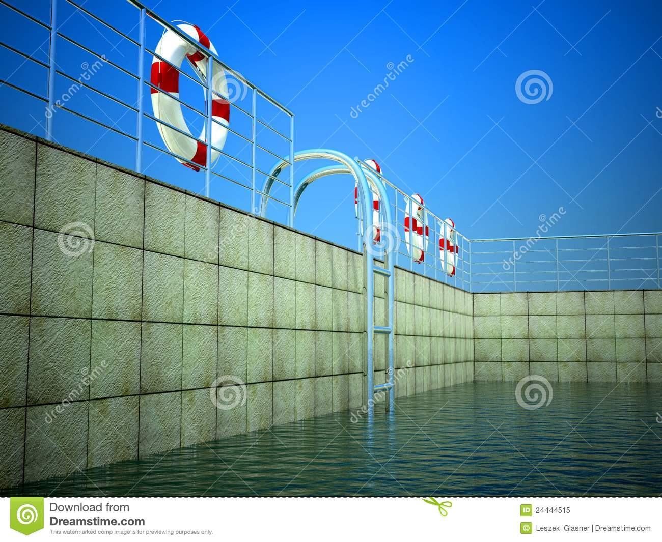 3d Swimming Pool And Life Ring Stock Image Image Of Risk