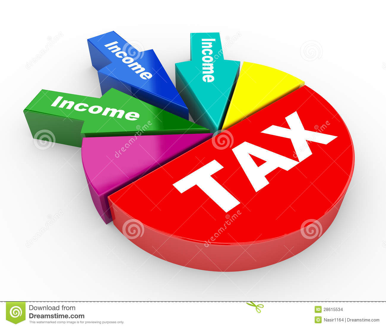 3d render of closeup of tax and income pie chart arrow. concept of ...