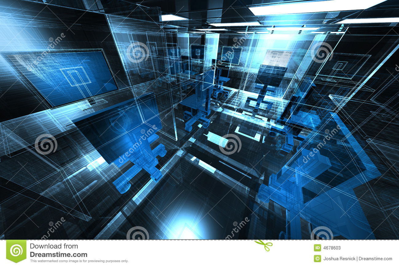3d Technology Office Illustration Stock