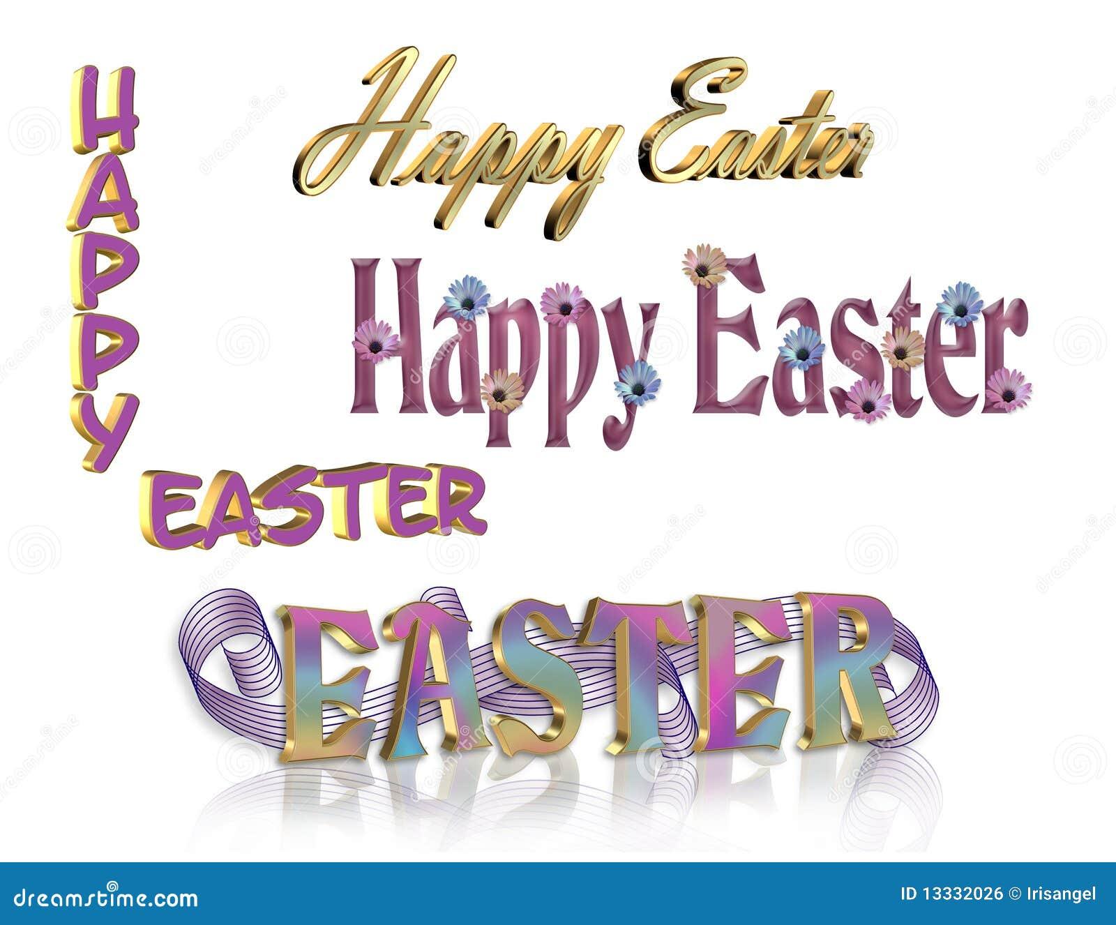 3d tekst szczęśliwy ustalony 4 Easter