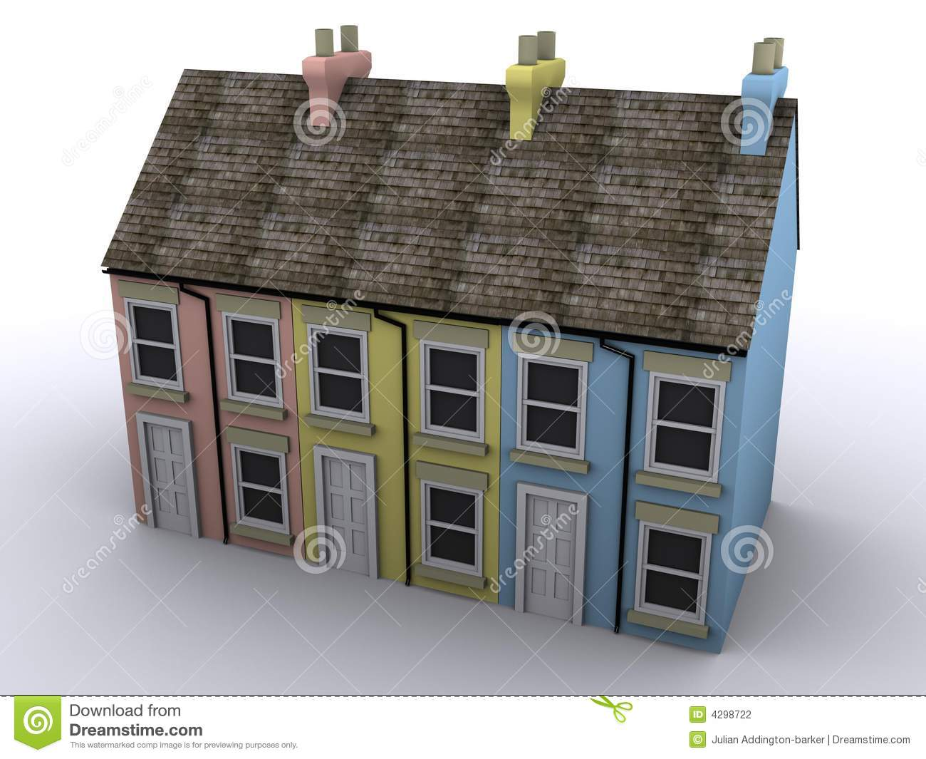3D image of a colorful group of terrace houses from a high perspective ...