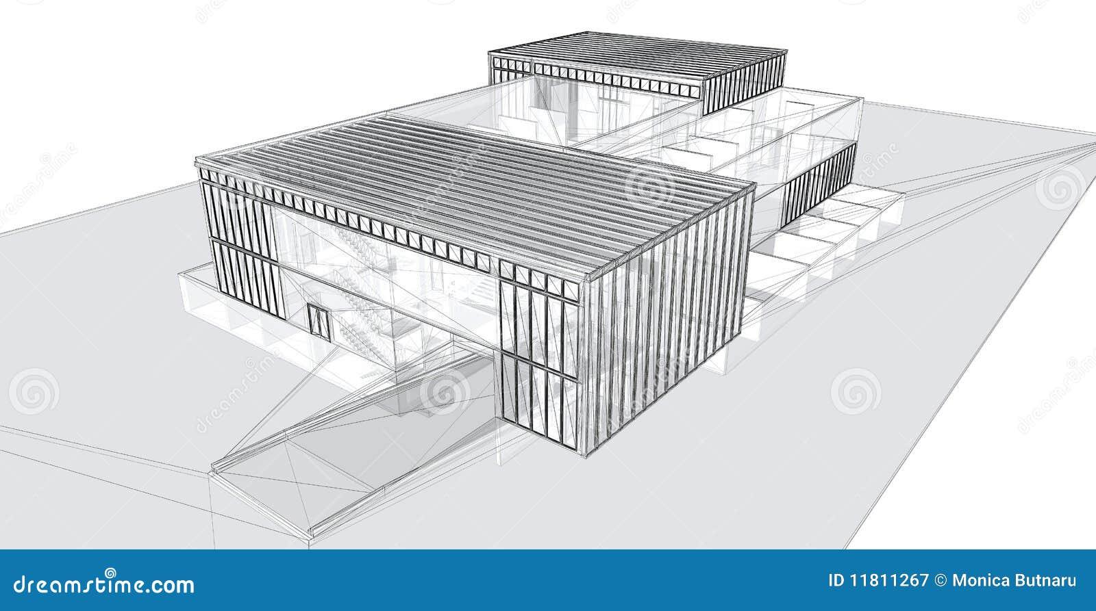 3D teruggevend draad-kader van de bouw.