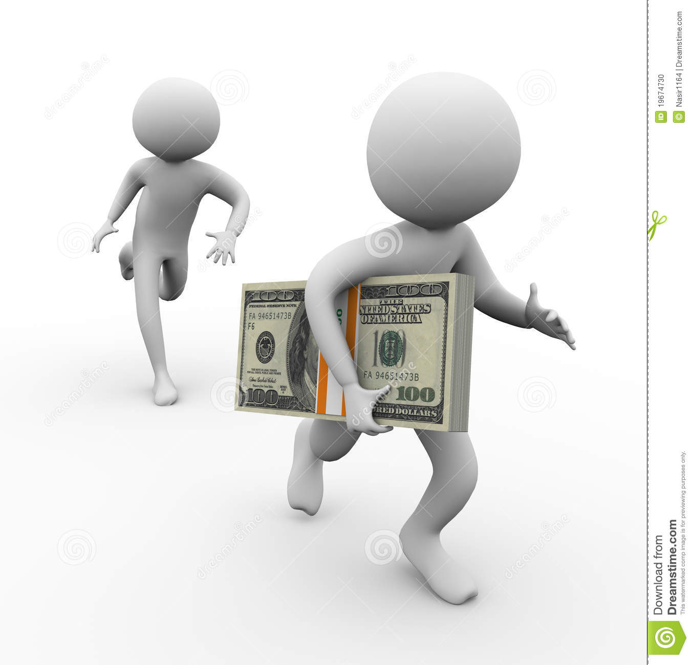 3d Thief Stealing Money Stock Photo Image 19674730
