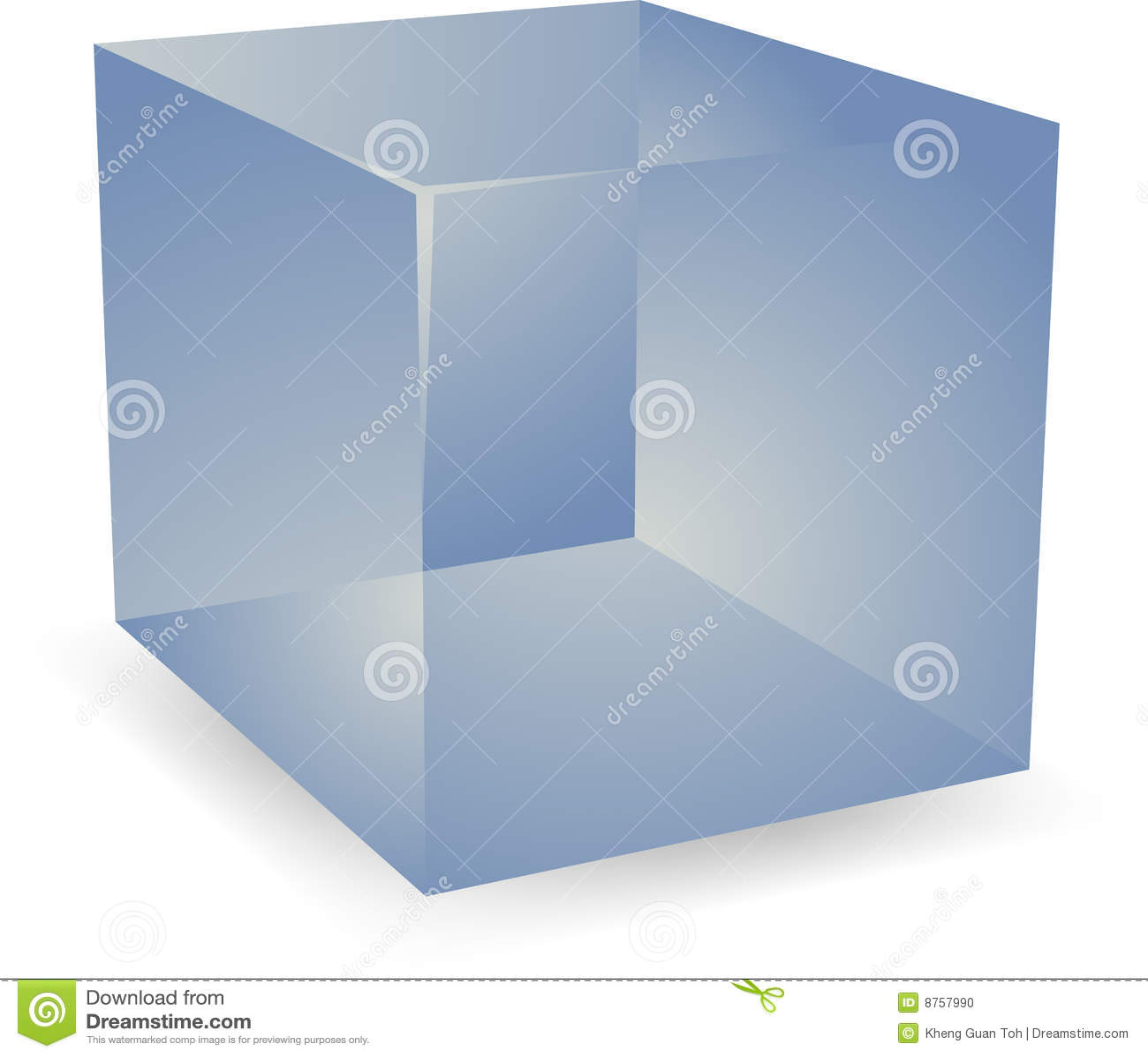 Blank cube translucent 3d shape design illustration.