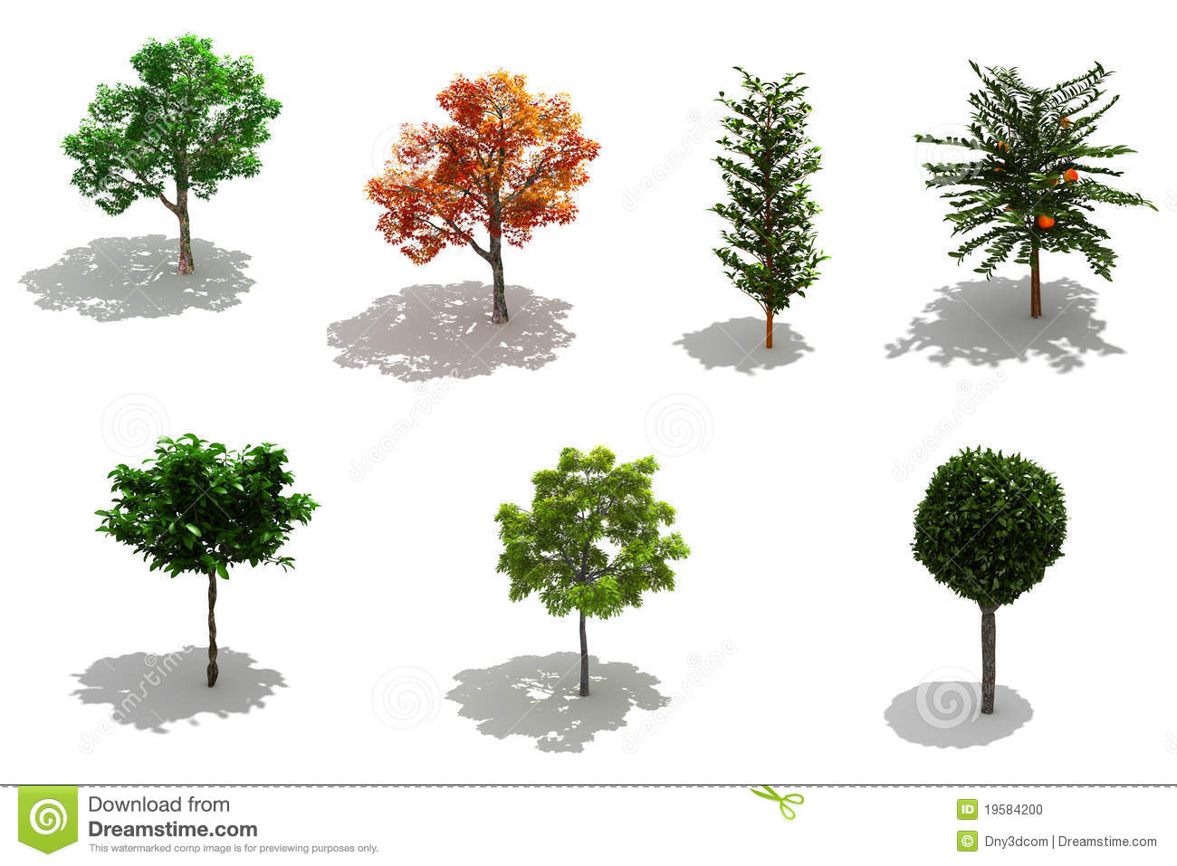Árboles 3d: 3d Trees Pack With Shadows Stock Photo