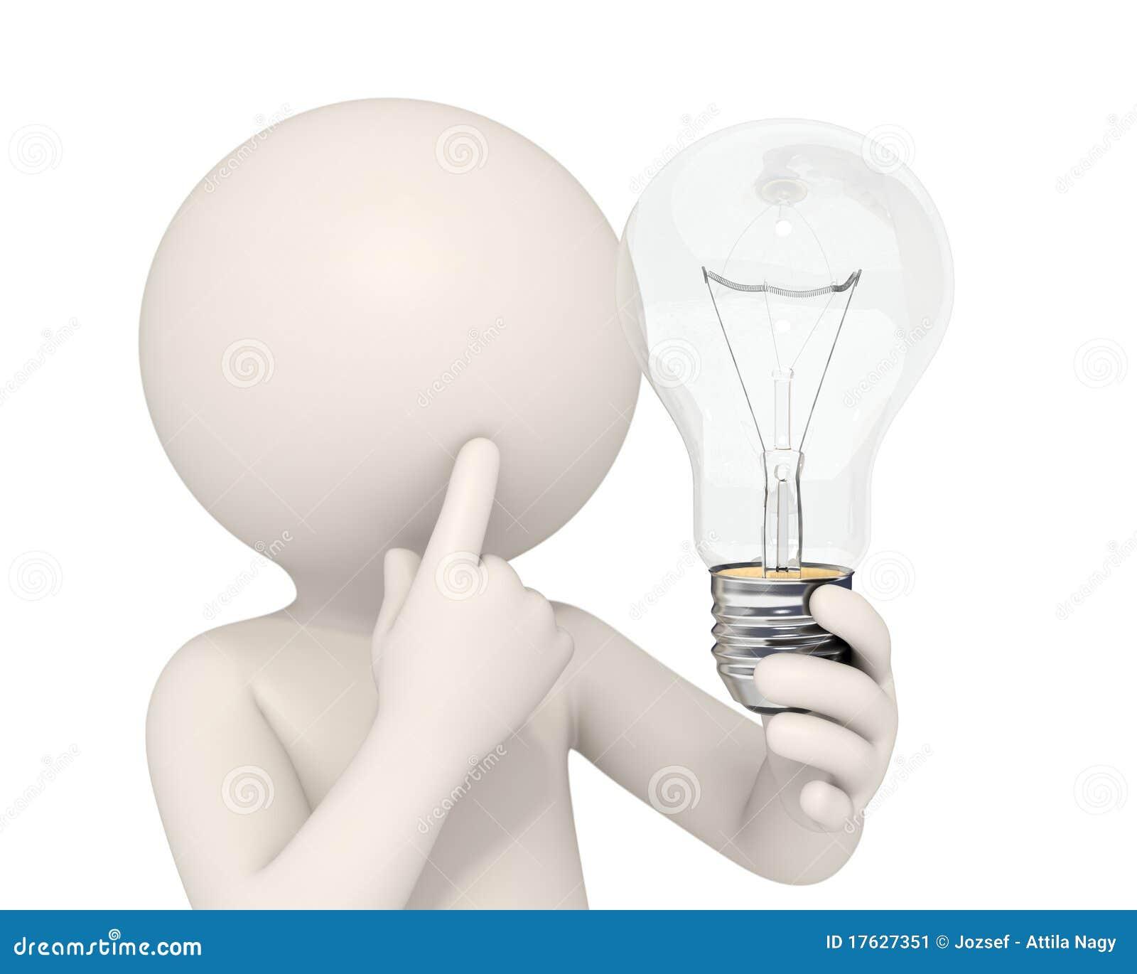 uomo lampadina : Uomo 3d che tiene una lampadina mentre pensando - concetto di idea ...
