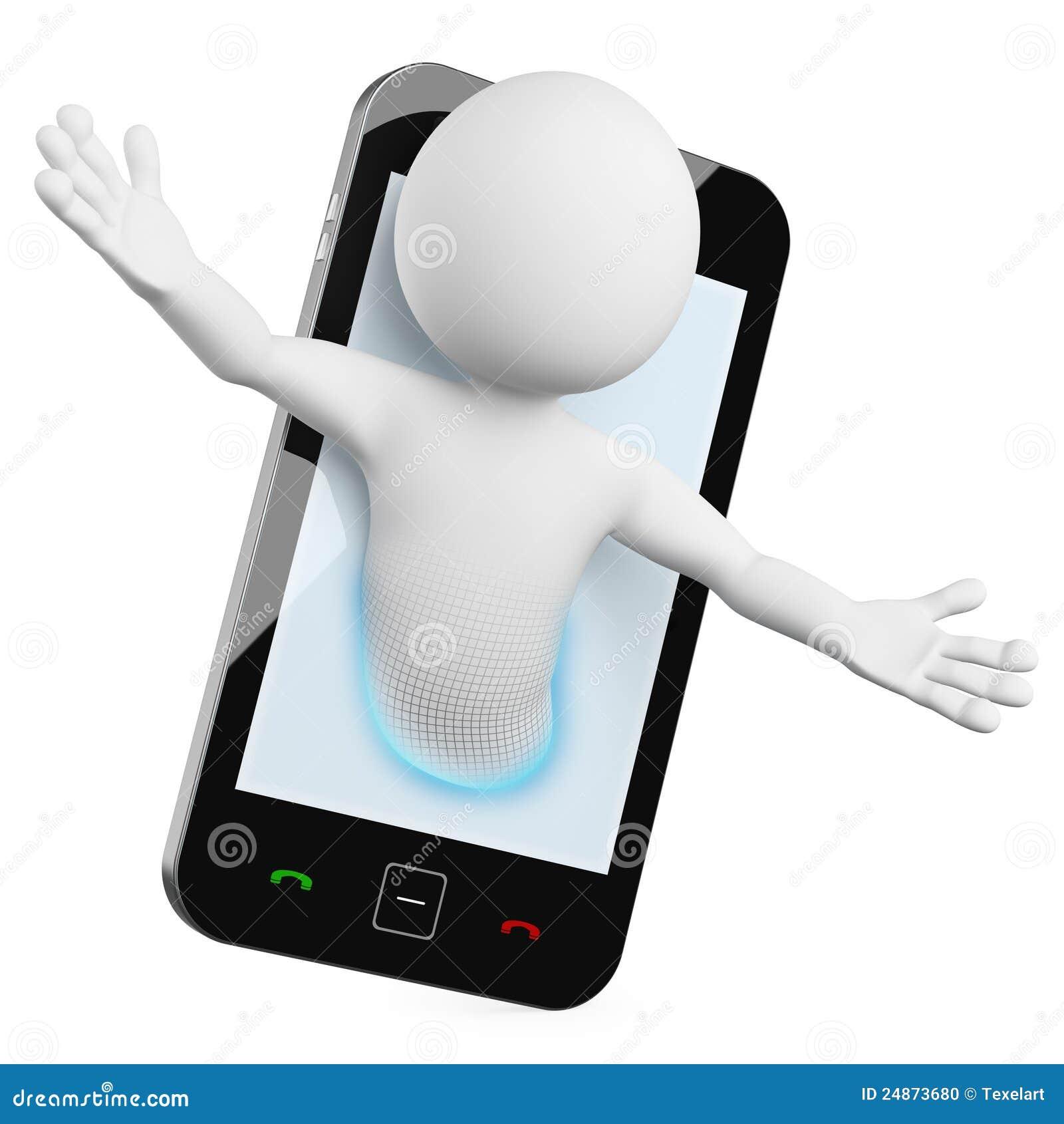 3D uomo - video chiamata mobile