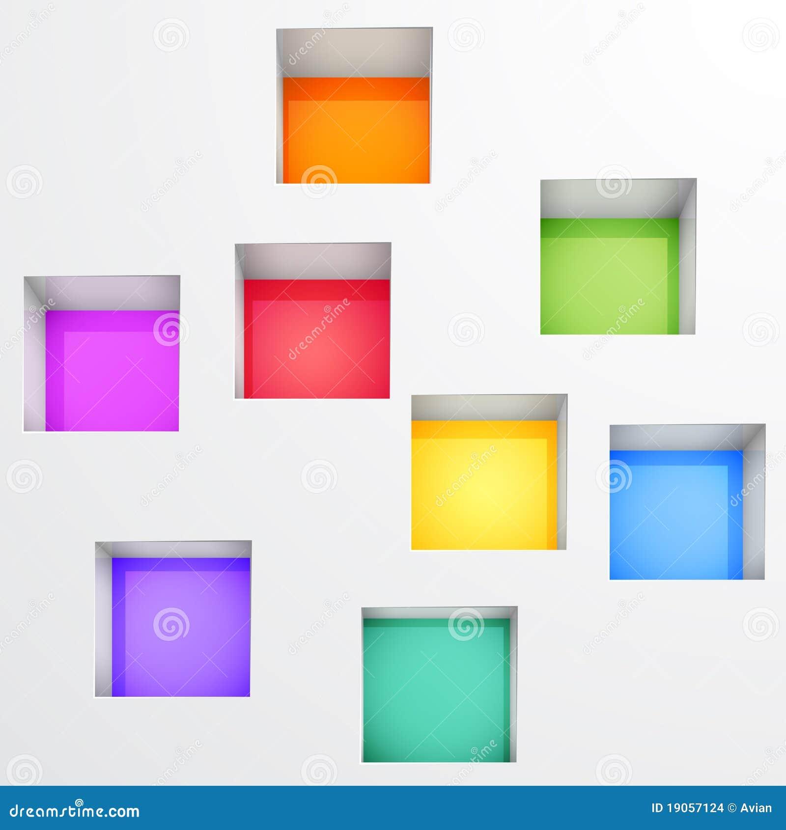 d vacian los estantes para el objeto expuesto en la pared imagenes de archivo