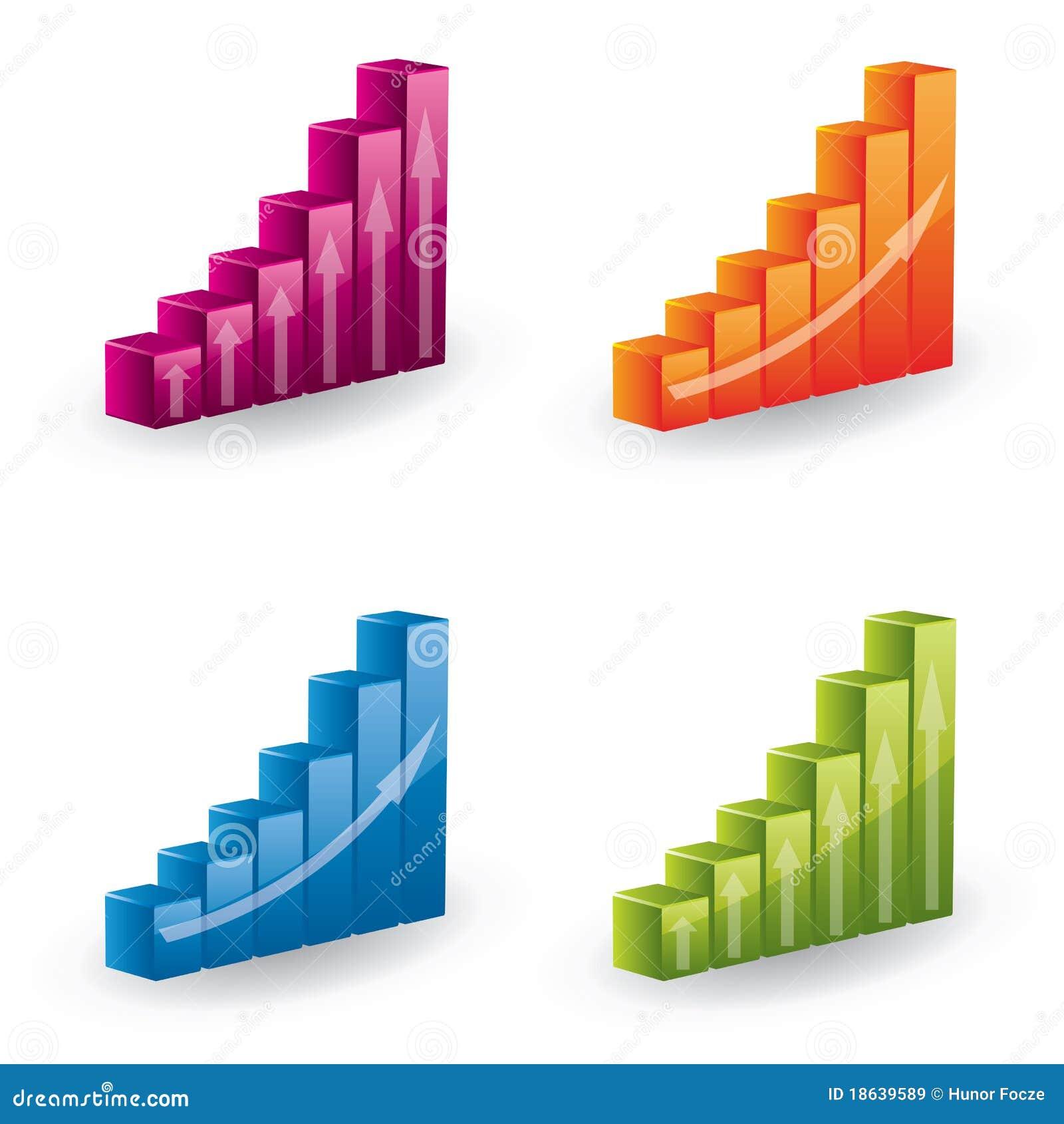 3d Vector Diagram Set - Icons Stock Illustration