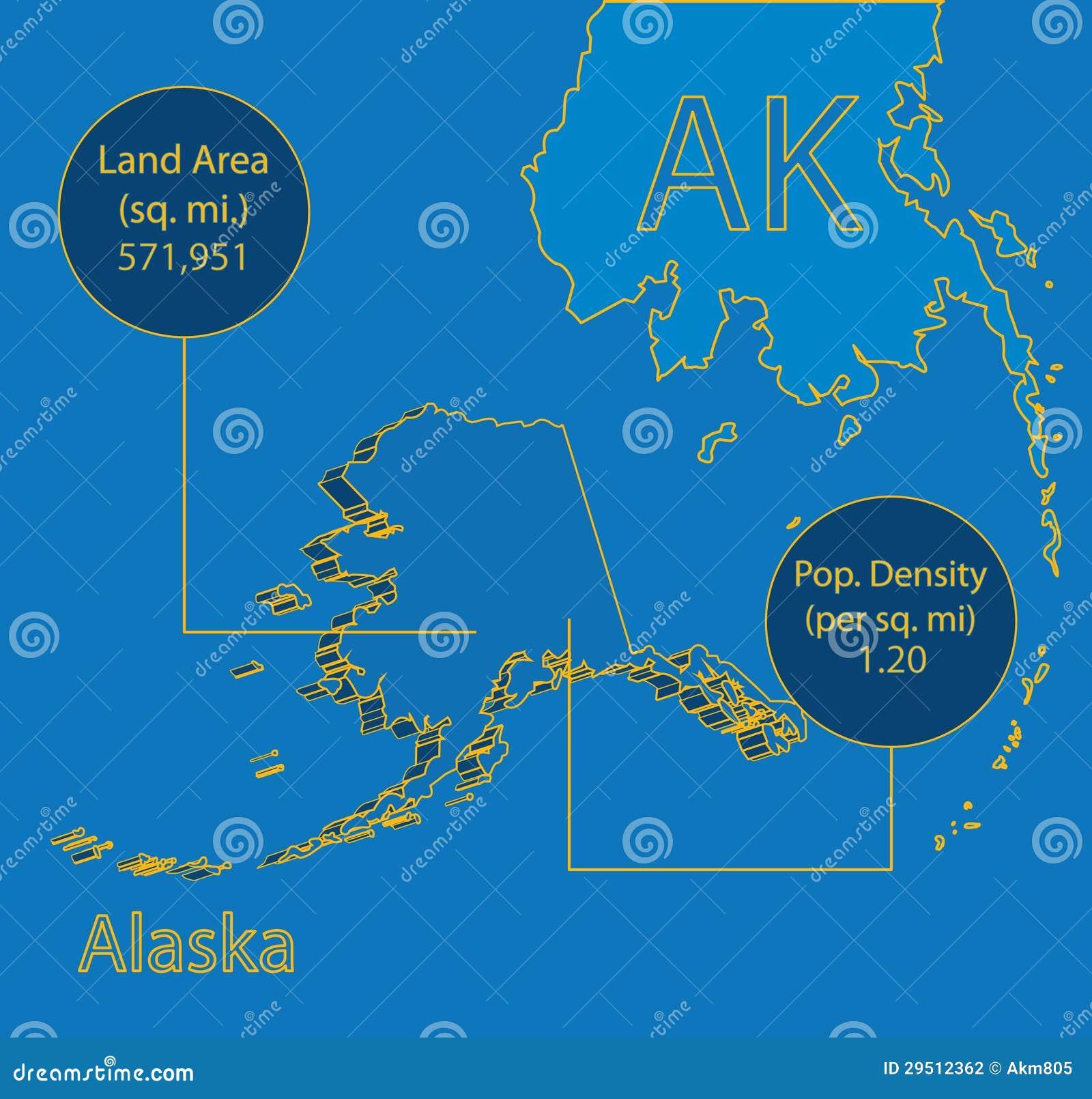 3D Vector grafische de kaartinfo van Alaska