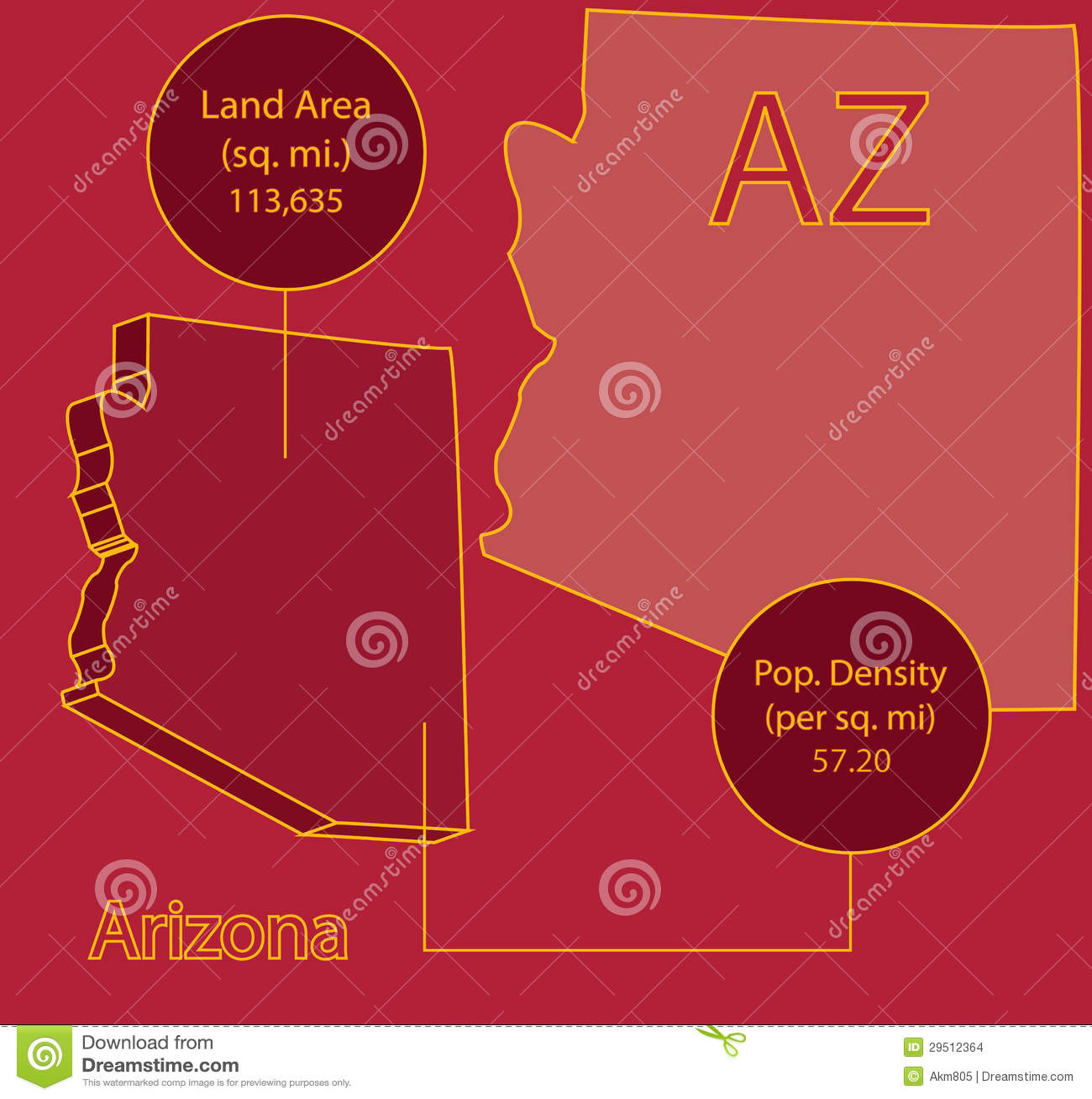 3D Vector grafische de kaartinfo van Arizona