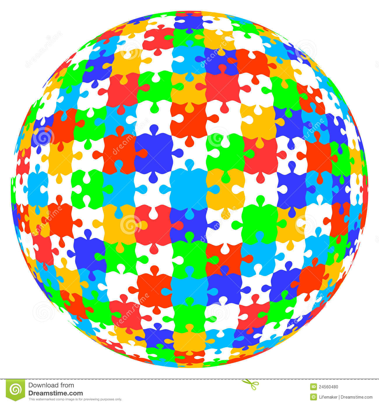 3d Vector Puzzle Jigsaw Ball In Color Stock Vector