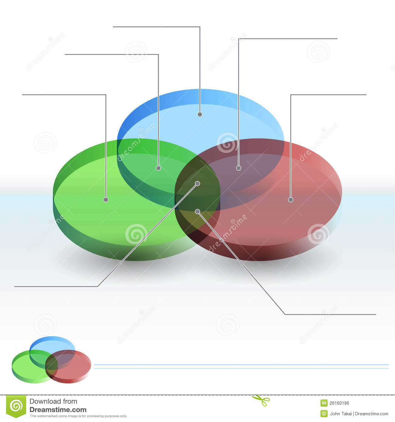 3D Venn Diagram Sections stock vector Image of green
