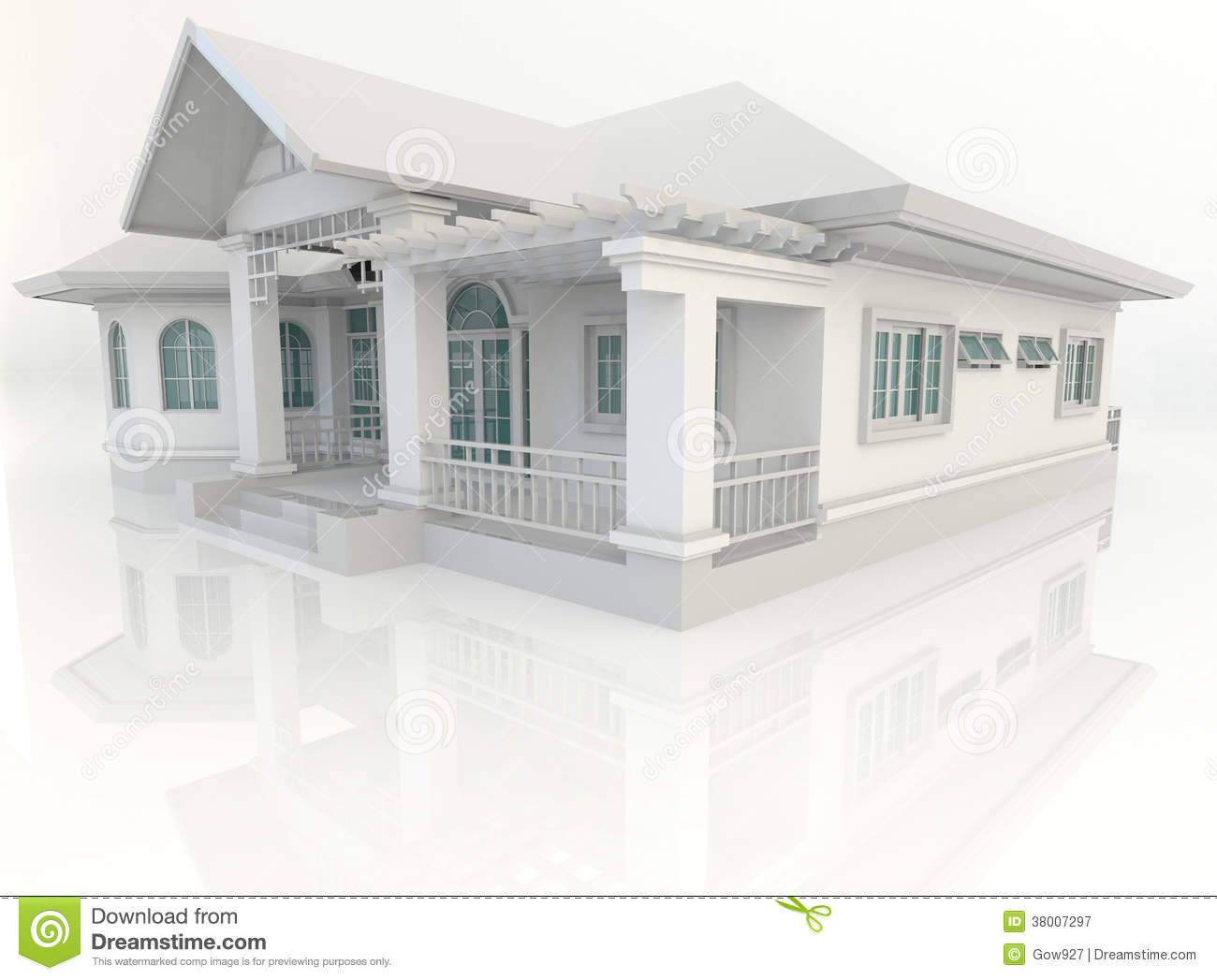 3d vintage house exterior design with refelction in white for Architecte jardin 3d gratuit