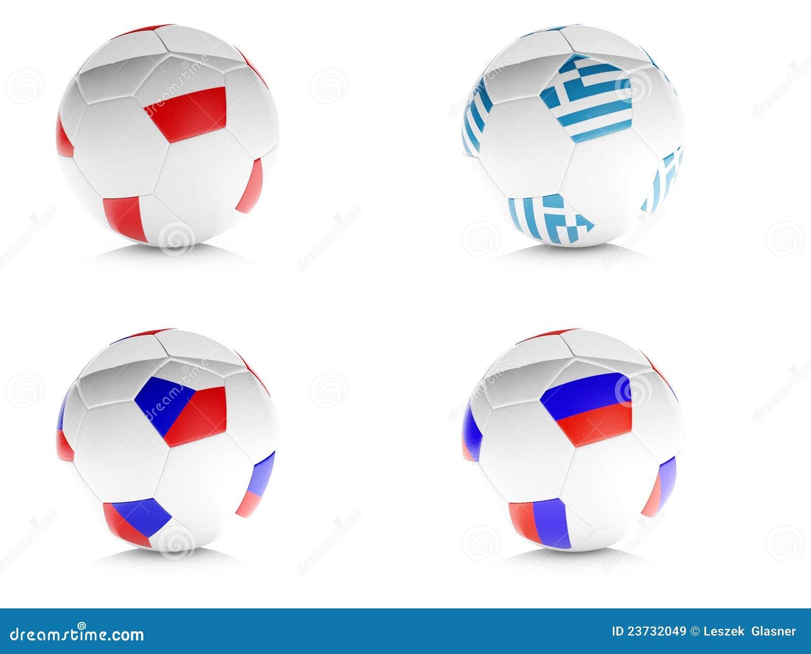 3d voetbalballen met vlaggen isoleerden wit