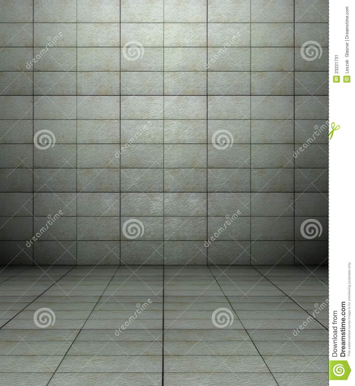 Download 3d Wall With Tiles Texture Empty Interior Stock Illustration