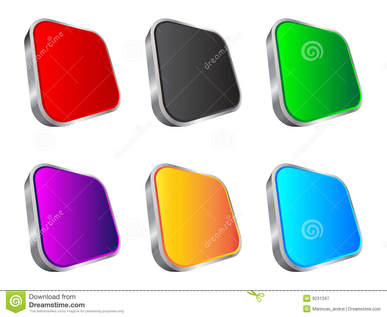 3d Web Buttons Stock Vector Image Of Colorful Shine