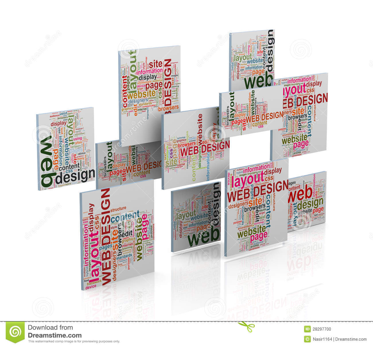 3d Web Design Word Tags Wordcloud Stock Photo Image