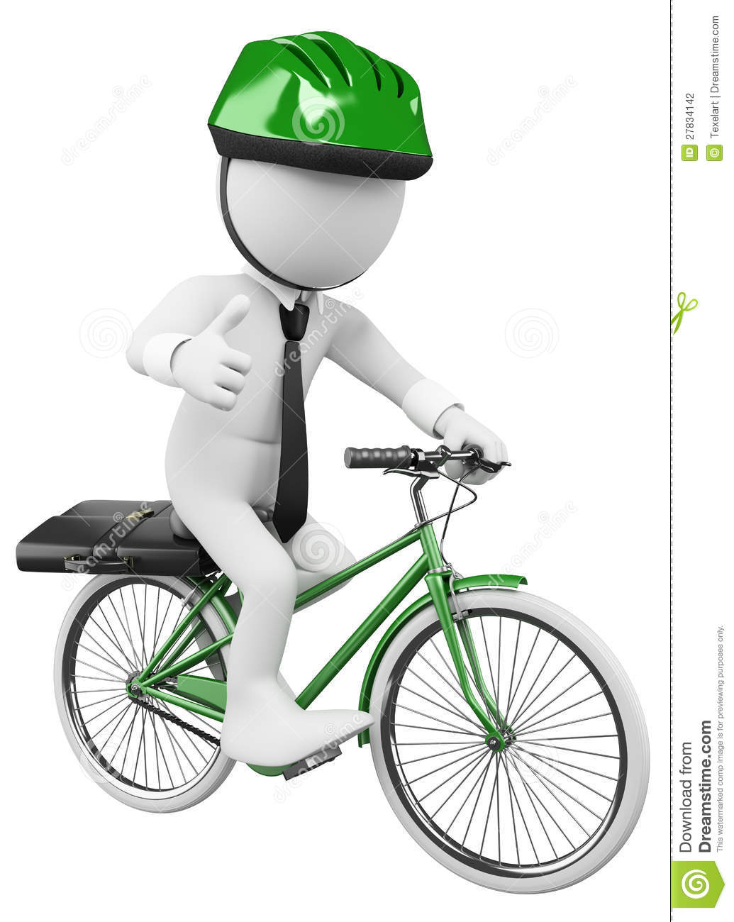 3D White Business People. Bike To Work Stock Illustration ...
