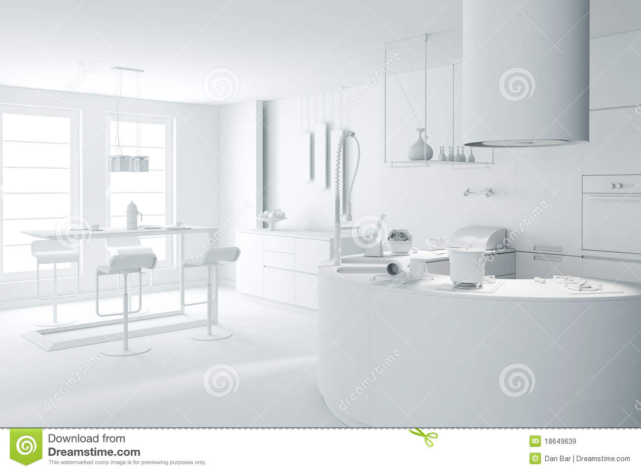 Traditional White Kitchen Design 3d Rendering: 3d White Clay Render Of A Modern Kitchen Royalty Free