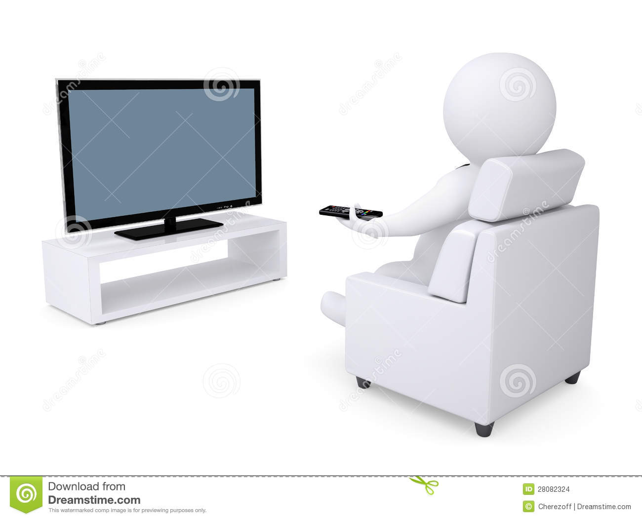 3d white human sitting in a chair and watching tv stock images