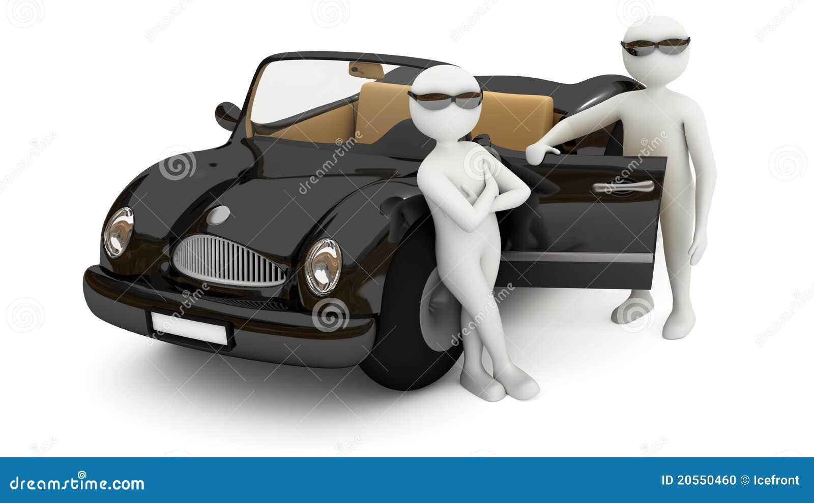 3d White Men Standing Near Black Car Stock Photo - Image ...