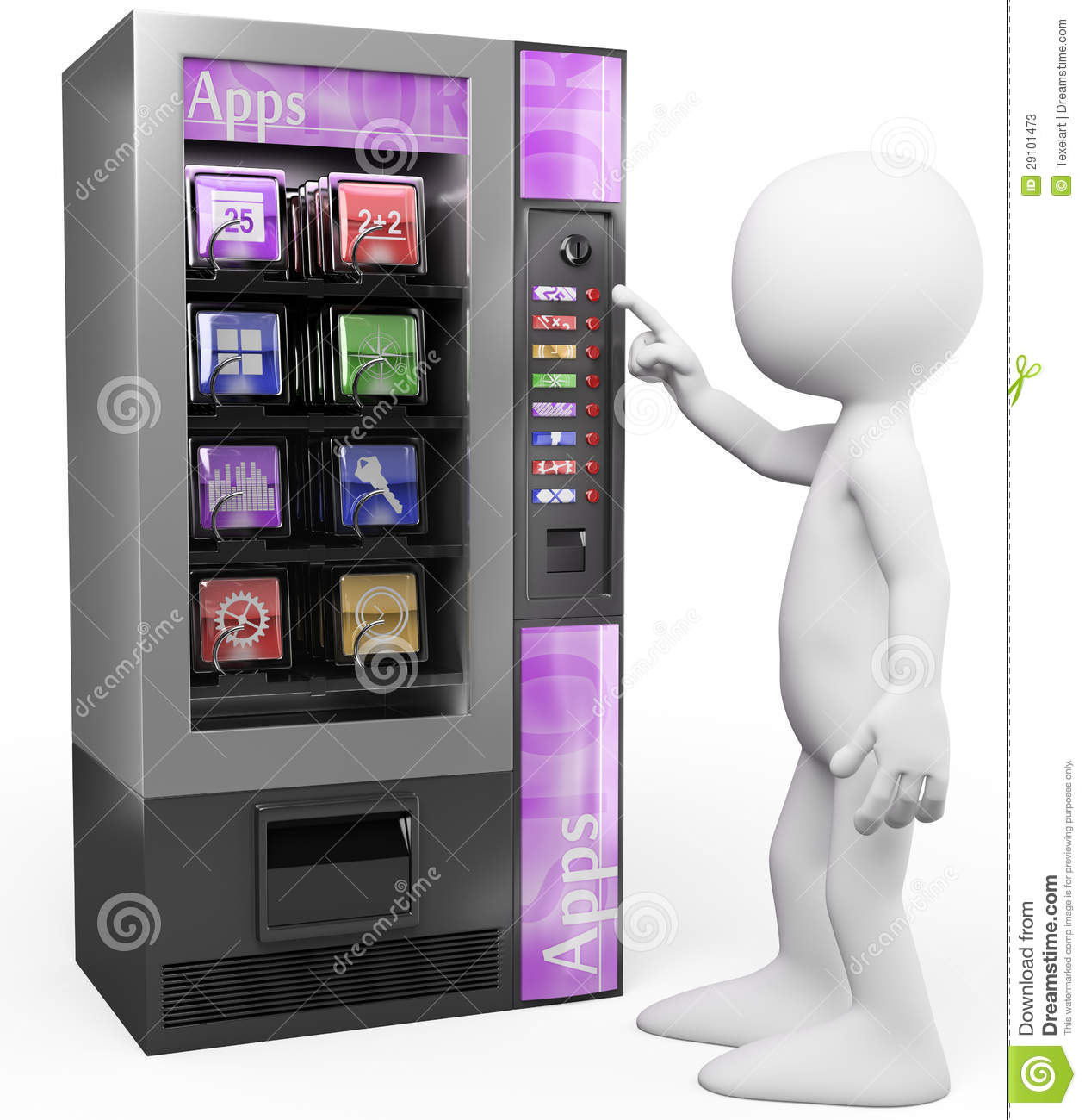 3d white people apps vending machine stock photos image 29101473. Black Bedroom Furniture Sets. Home Design Ideas