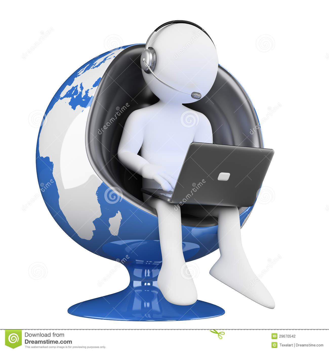 3D White People. Call Center Globalization Stock Photography - Image ...