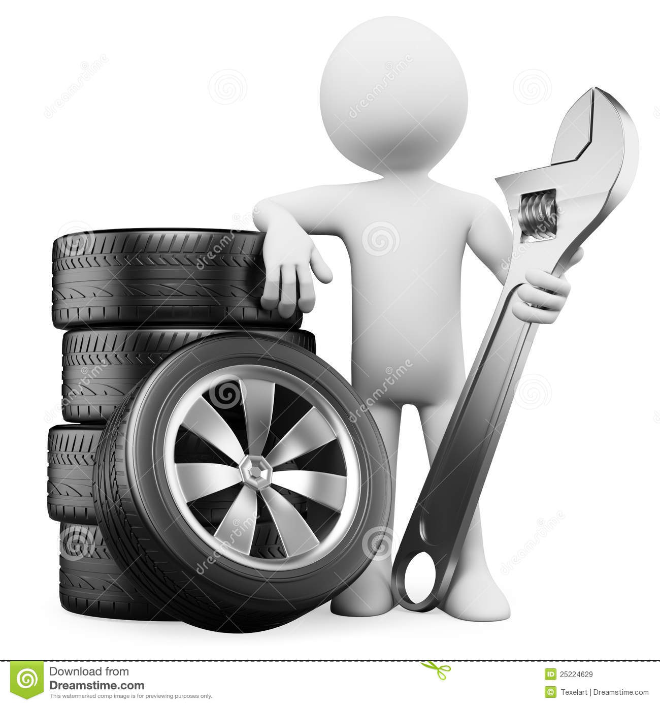 3d White People Car Mechanic Royalty Free Stock Images