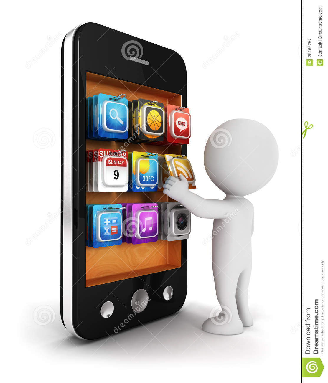 3d White People Chooses An App For Smartphone Royalty Free ...