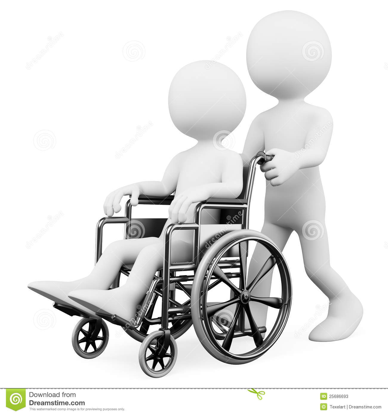 3D White People. Helping A Handicapped Stock Illustration