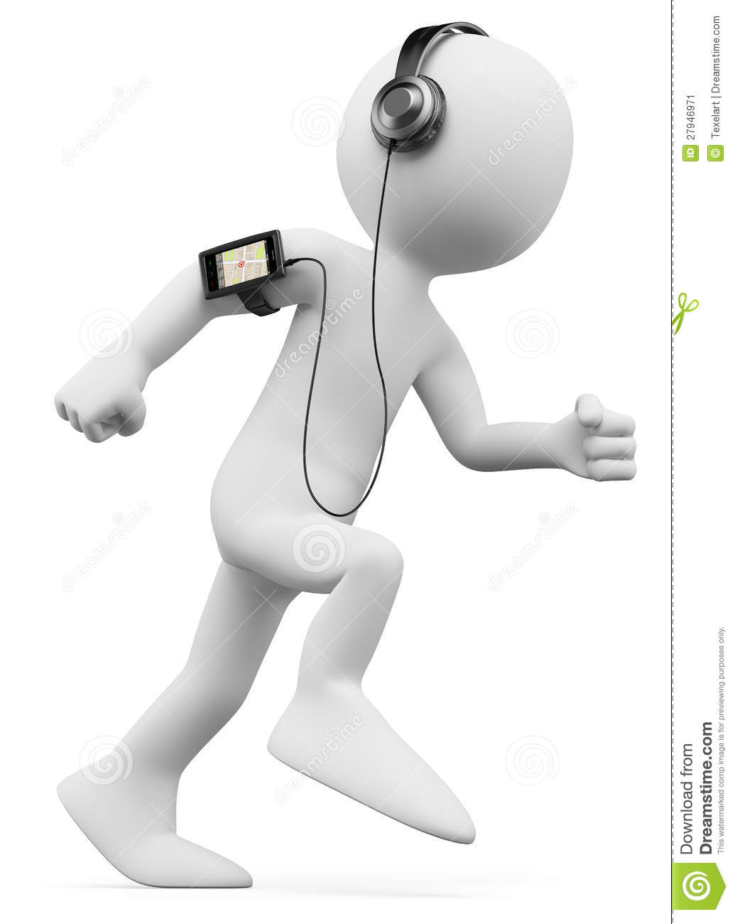 3d white person jogging with a mobile phone with gps and mp3 on the