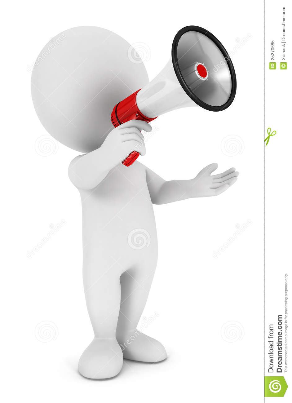 3d White People Megaphone Stock Illustration Image Of