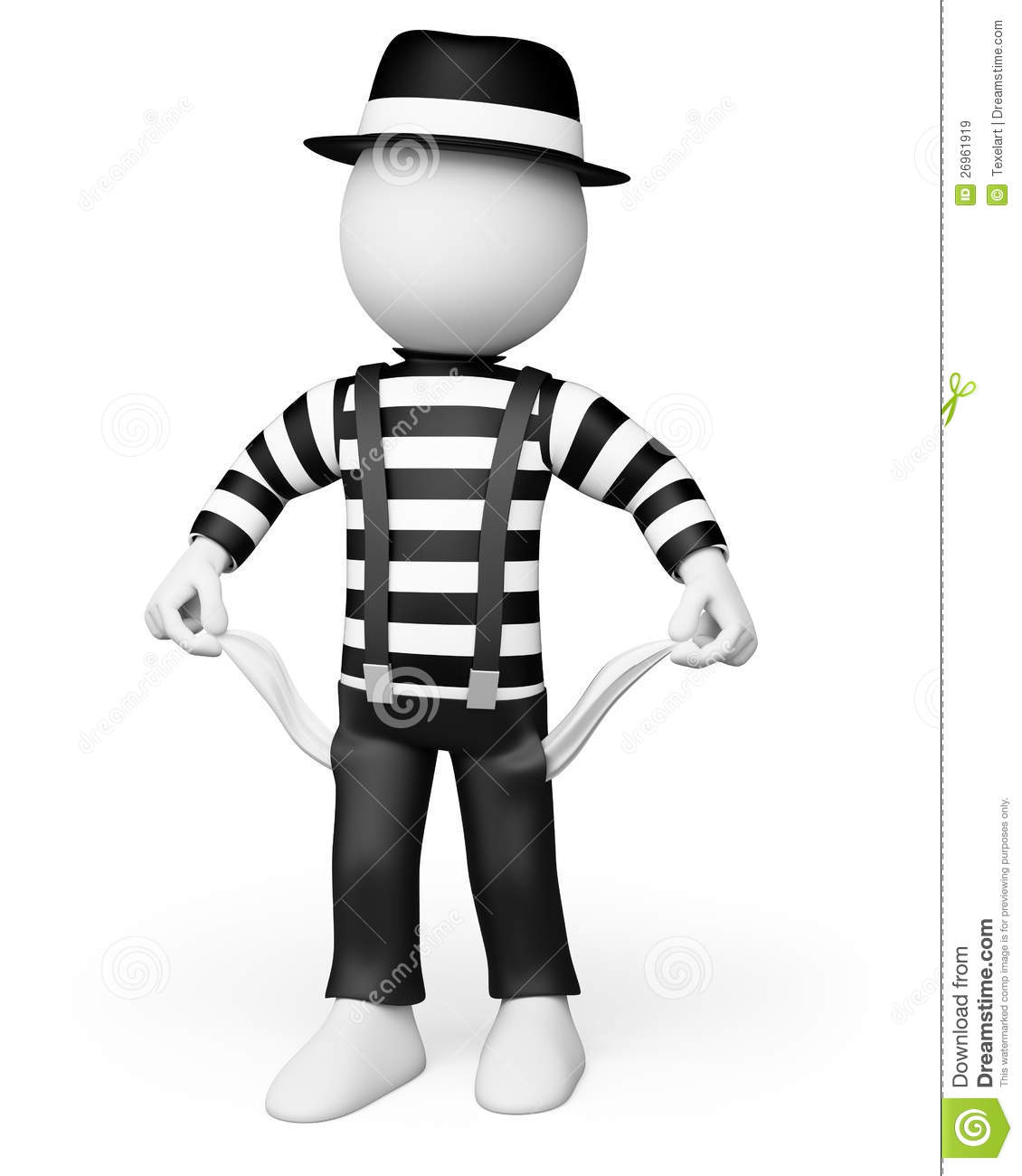3D White People. Mime Showing His Empty Pockets Royalty ...