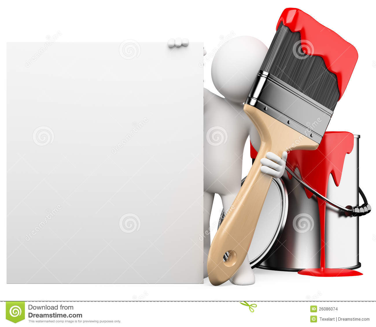 3d white people painter with a blank board stock images Paint Roller Clip Art Paint Brush Clip Art