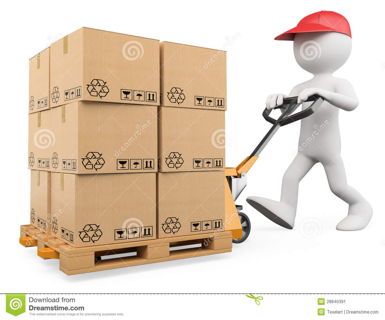 3D White People. Pallet Truck Stock Image