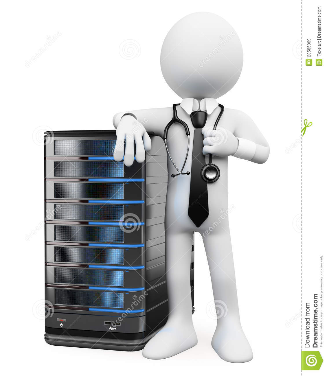 3d White People System Administrator Royalty Free Stock