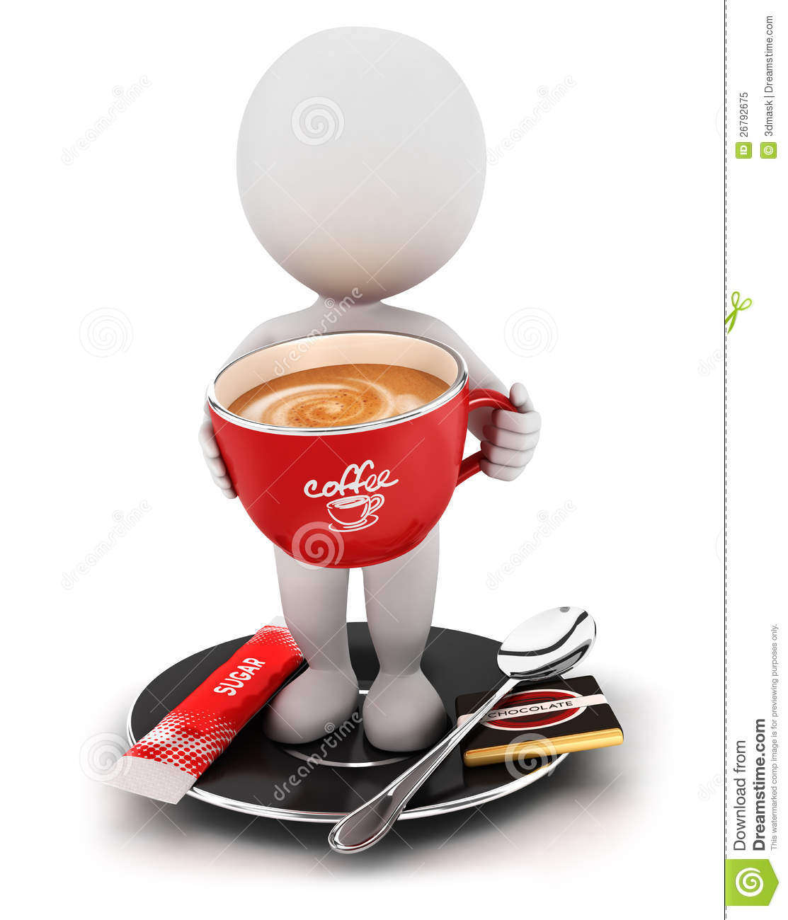 3d White People Takes A Coffee Break Stock Illustration ...