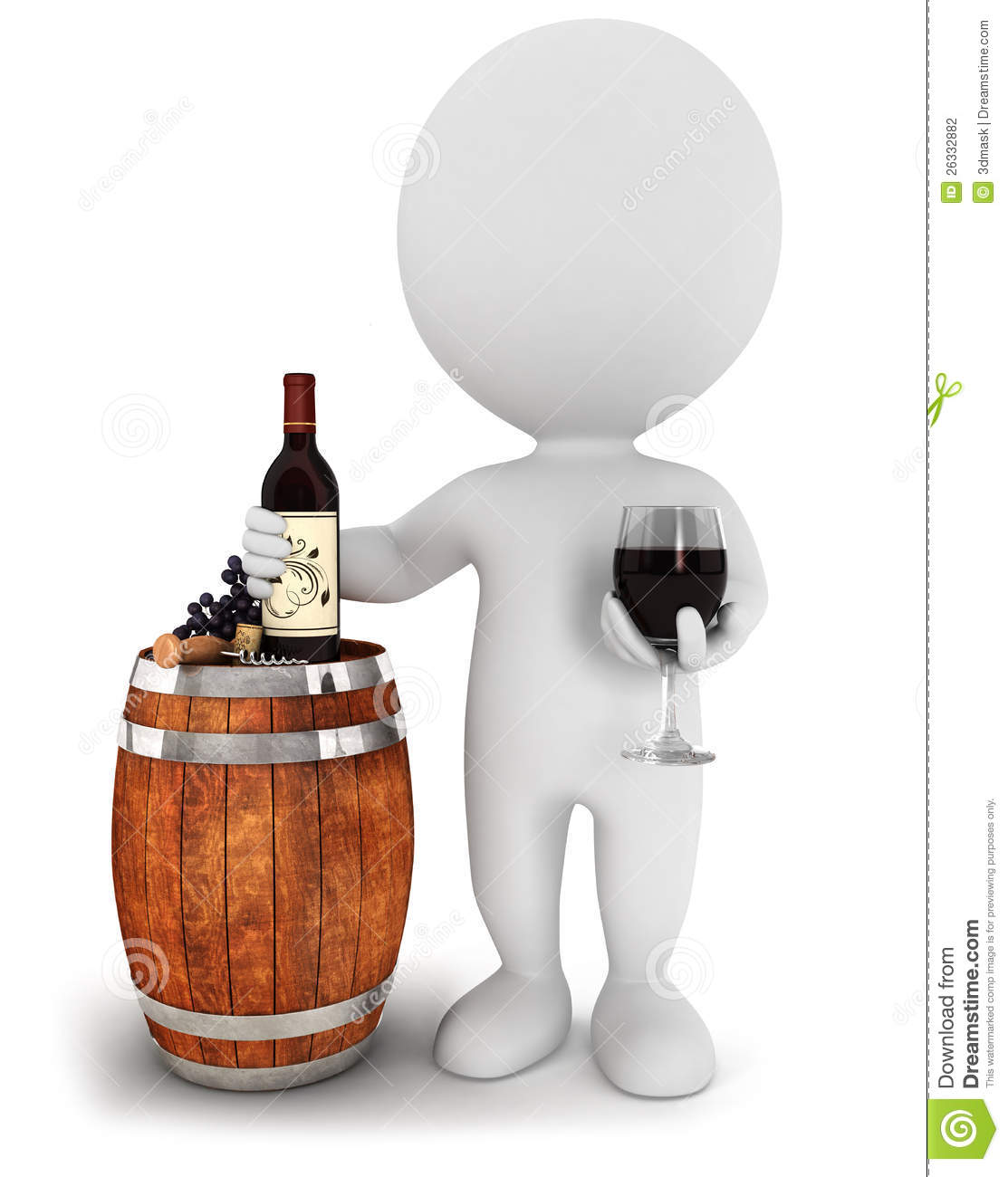 3d White People Wine Tasting Stock Photography Image