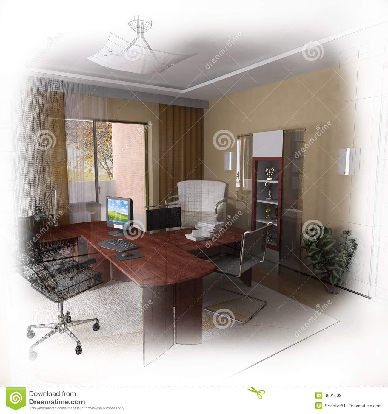 3d Wireframe Modern Home Office Design Royalty Free Stock