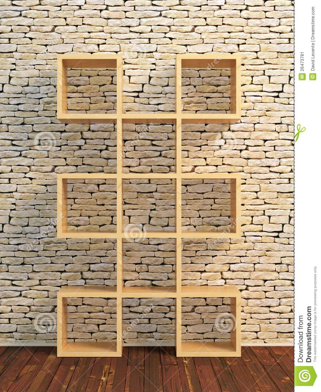 ... 3d illustration of modern wooden bookshelf against ston brick wall