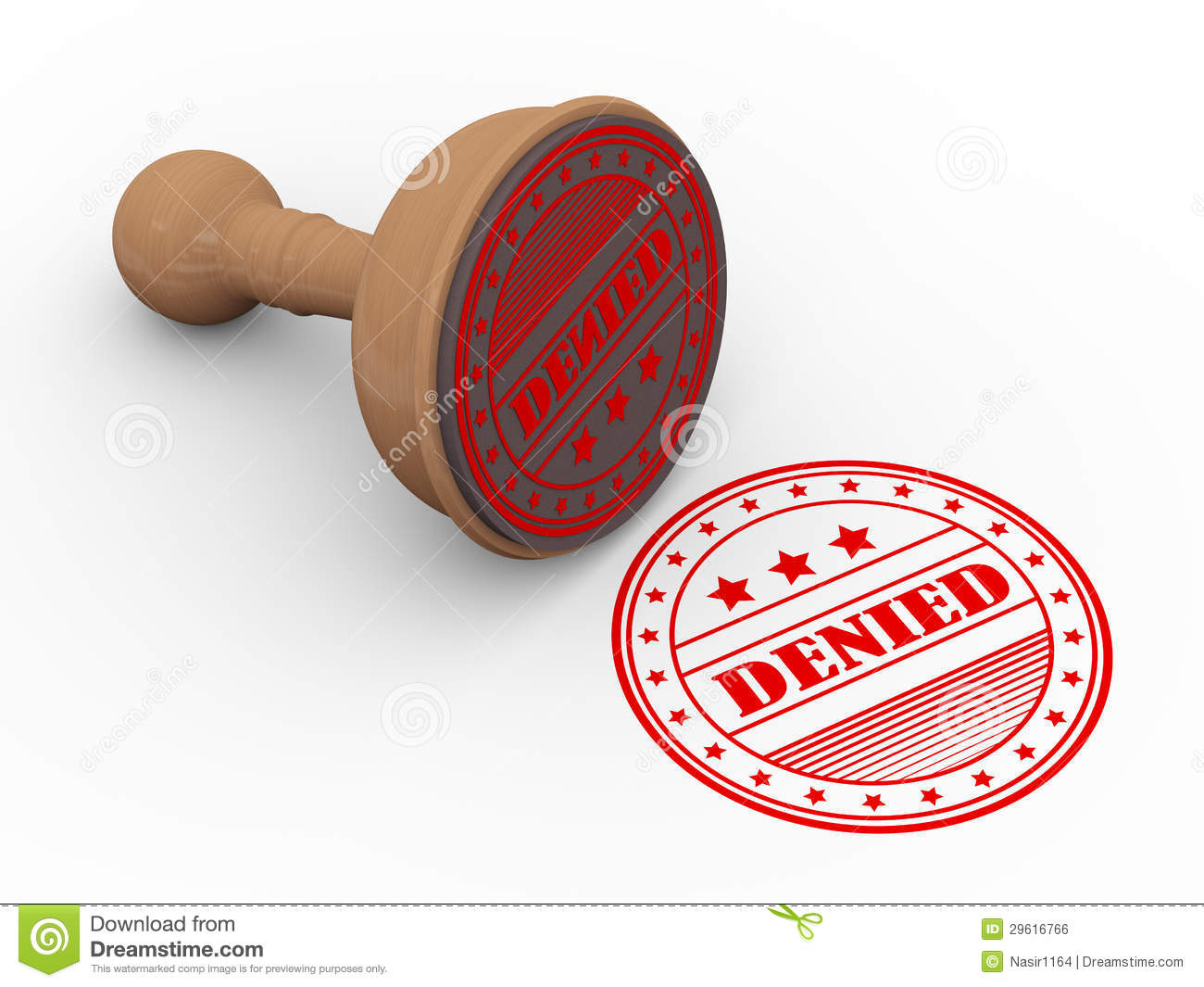 3d Wooden Rubber Stamp Denied Royalty Free Stock Image