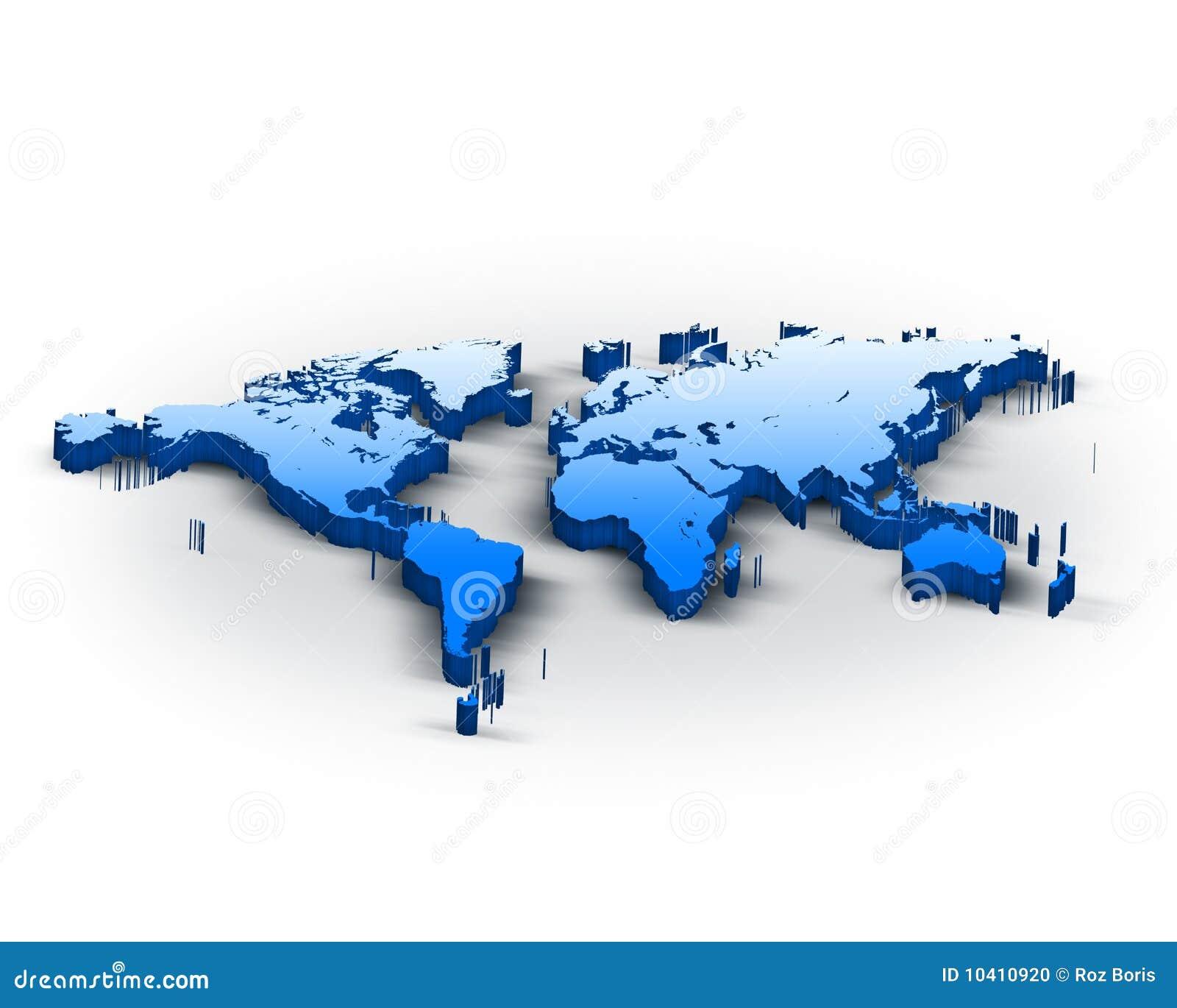 3d World Map Stock Illustration. Illustration Of East