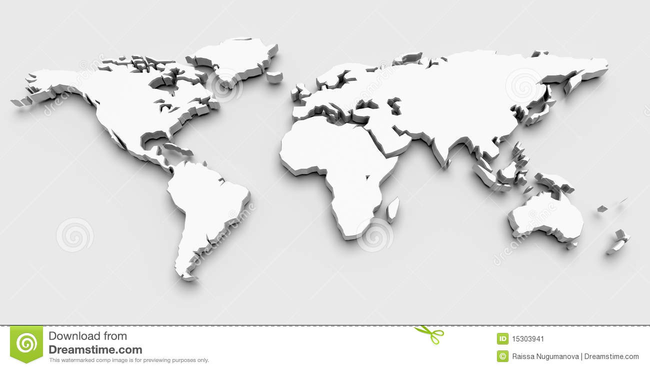 3D World Map Stock Image - Image: 15303941 WORLD MAP 3D