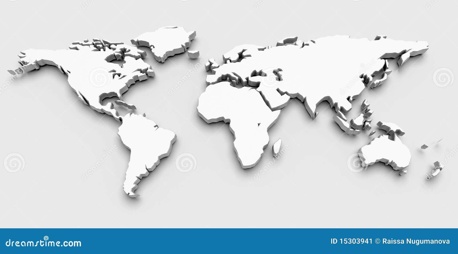 3D World Map Stock Image Image 15303941