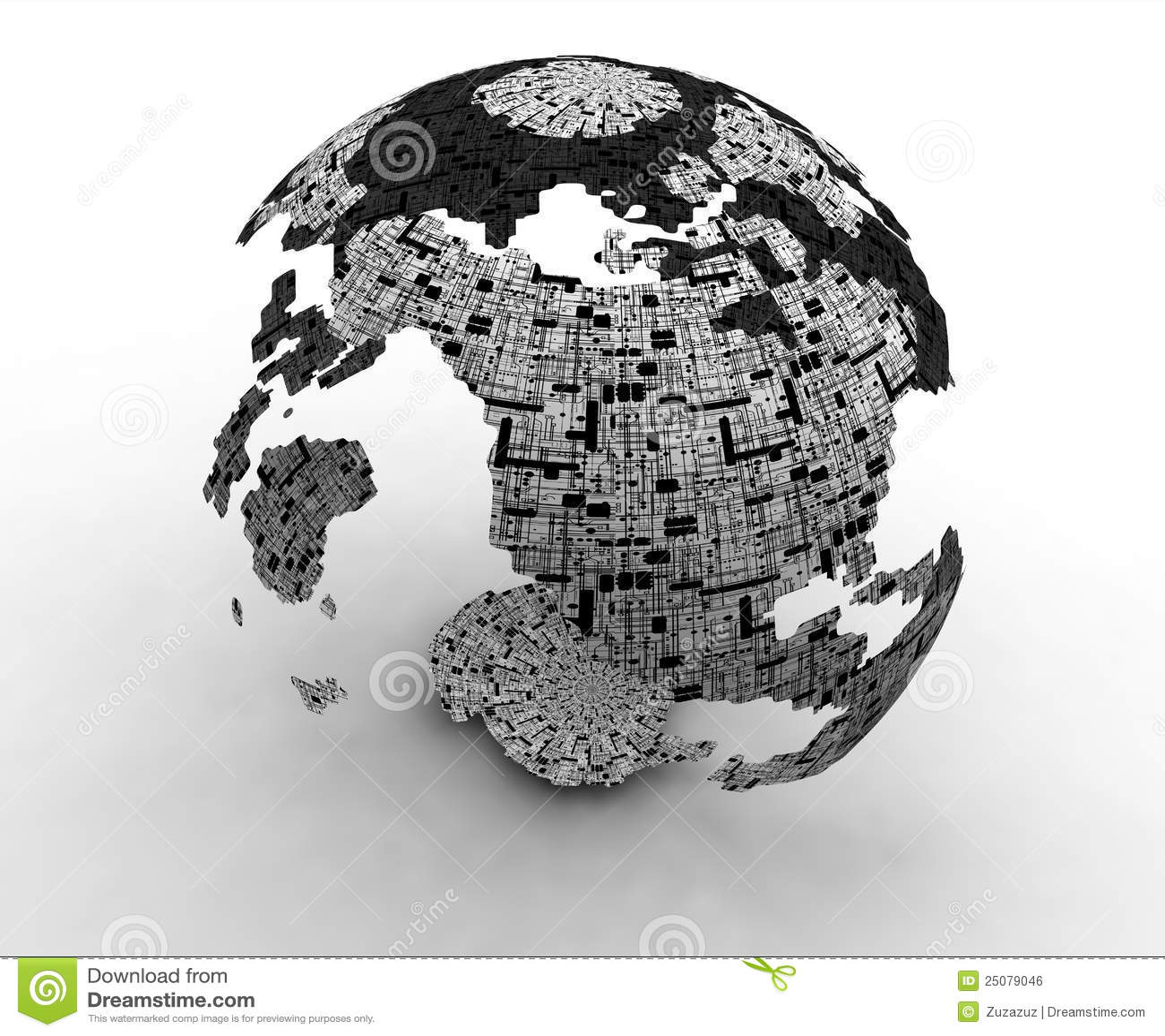 3d World Technology Maps Stock Illustration. Illustration