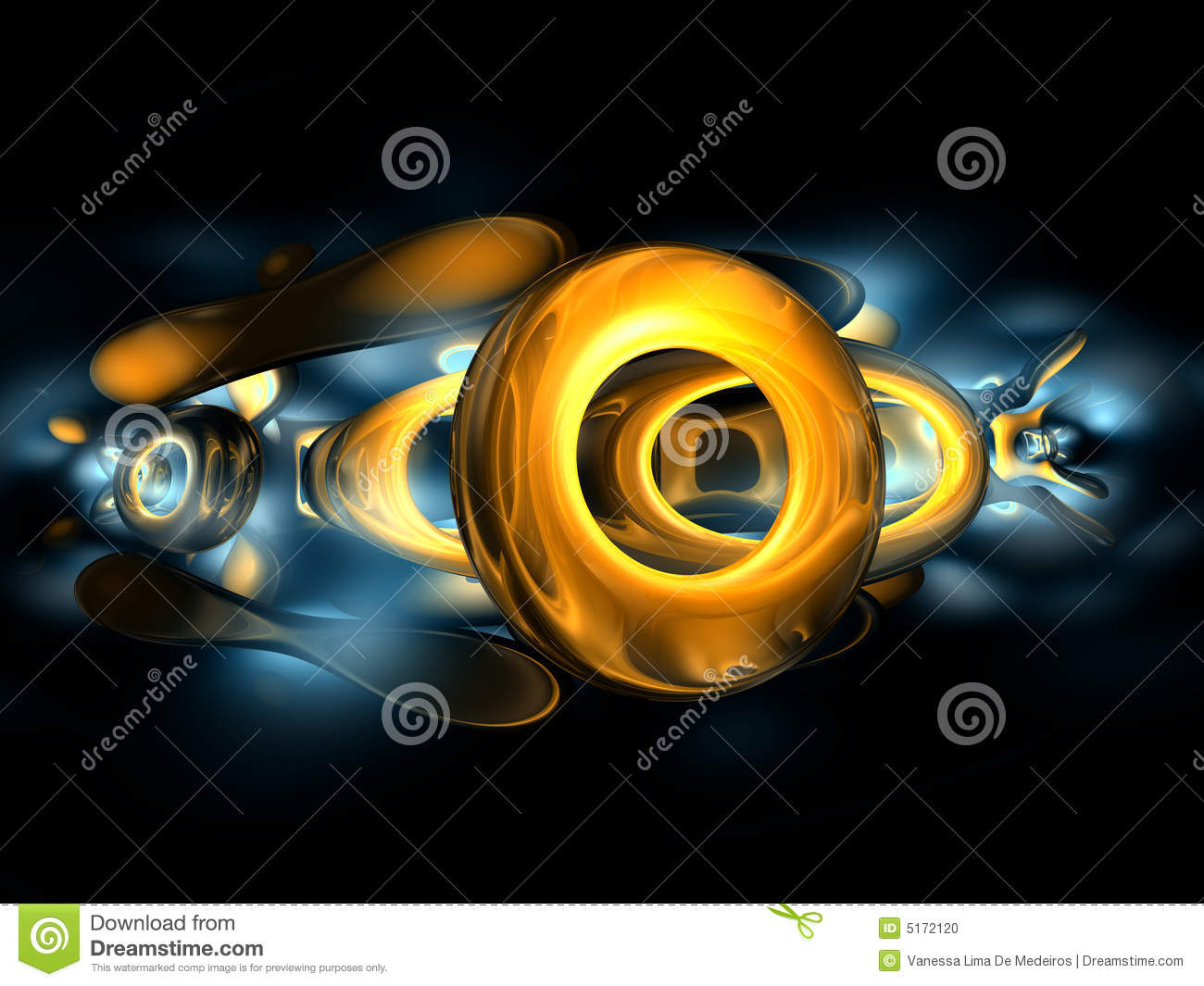 3D Yellow Gold Abstract Render Black Blue Backgrou