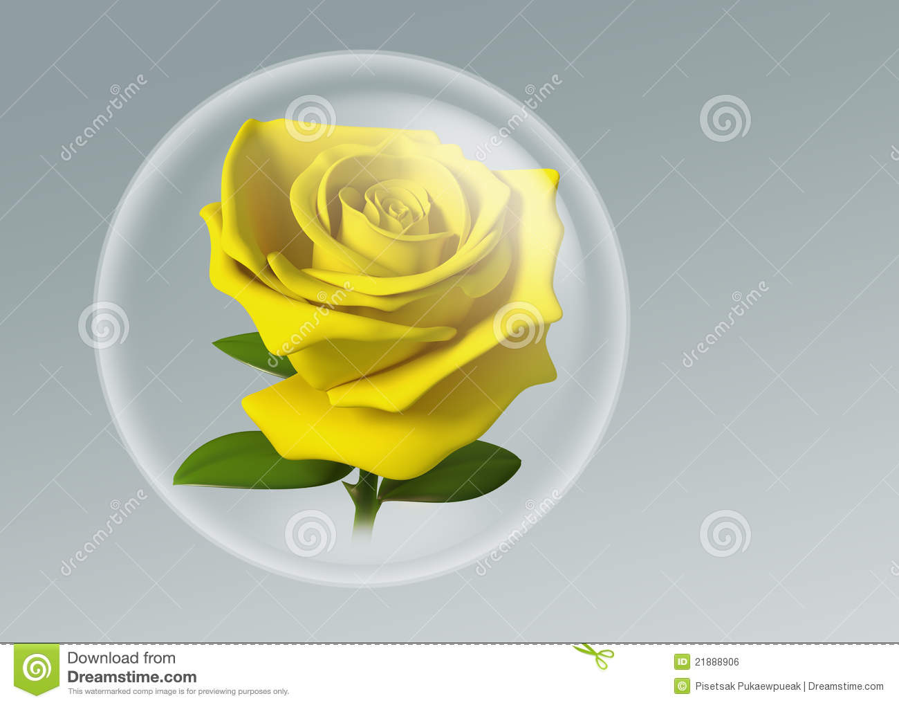 3d yellow rose in glass ball stock illustration image 21888906. Black Bedroom Furniture Sets. Home Design Ideas