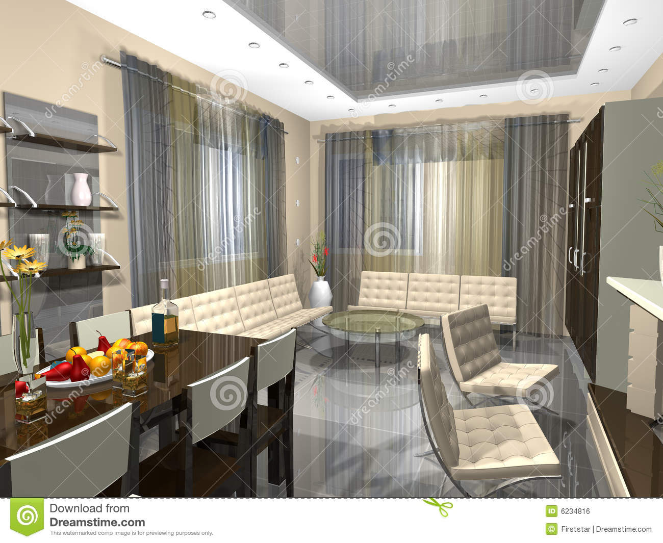 3dmax Interior Of A Drawing Room Stock Illustration Illustration Of Easy Internal 6234816